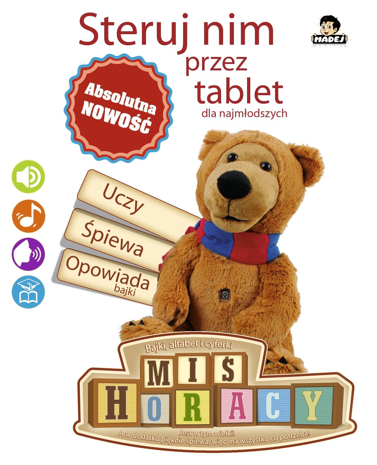 Miś Horacy sterowany przez tablet